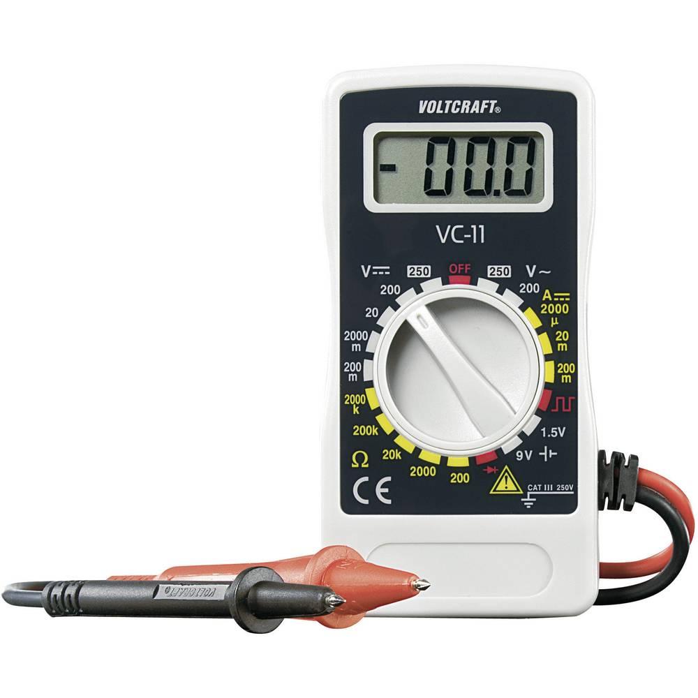 Ročni multimeter, digitalni VOLTCRAFT VC-11 kalibracija narejena po: delovnih standardih, CAT III 250 V število znakov na zaslon