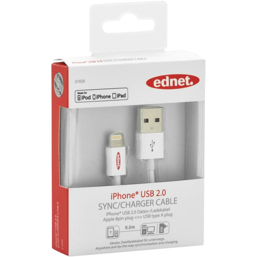 iPad/iPhone/iPod punjački kabel/podatkovni kabel [1x USB 2.0 utikač A - 1x Apple Dock utikač Lightning] ednet 0.50 m bijela