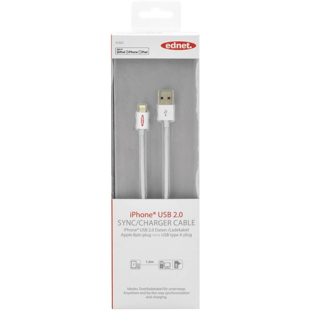 iPad/iPhone/iPod punjački kabel/podatkovni kabel [1x USB 2.0 utikač A - 1x Apple Dock utikač Lightning] ednet 1 m bijela