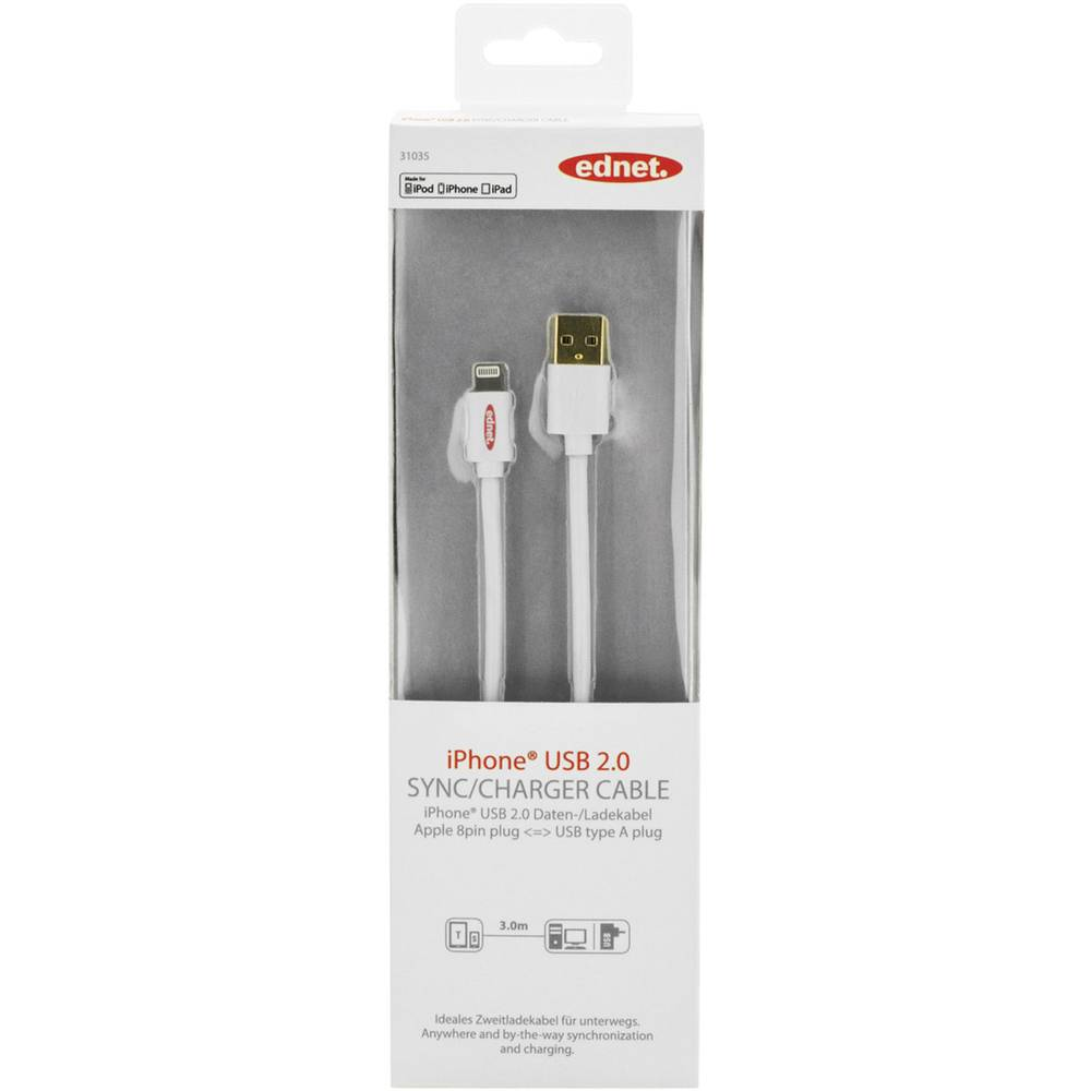 iPad/iPhone/iPod punjački kabel/podatkovni kabel [1x USB 2.0 utikač A - 1x Apple Dock utikač Lightning] ednet 3 m bijela