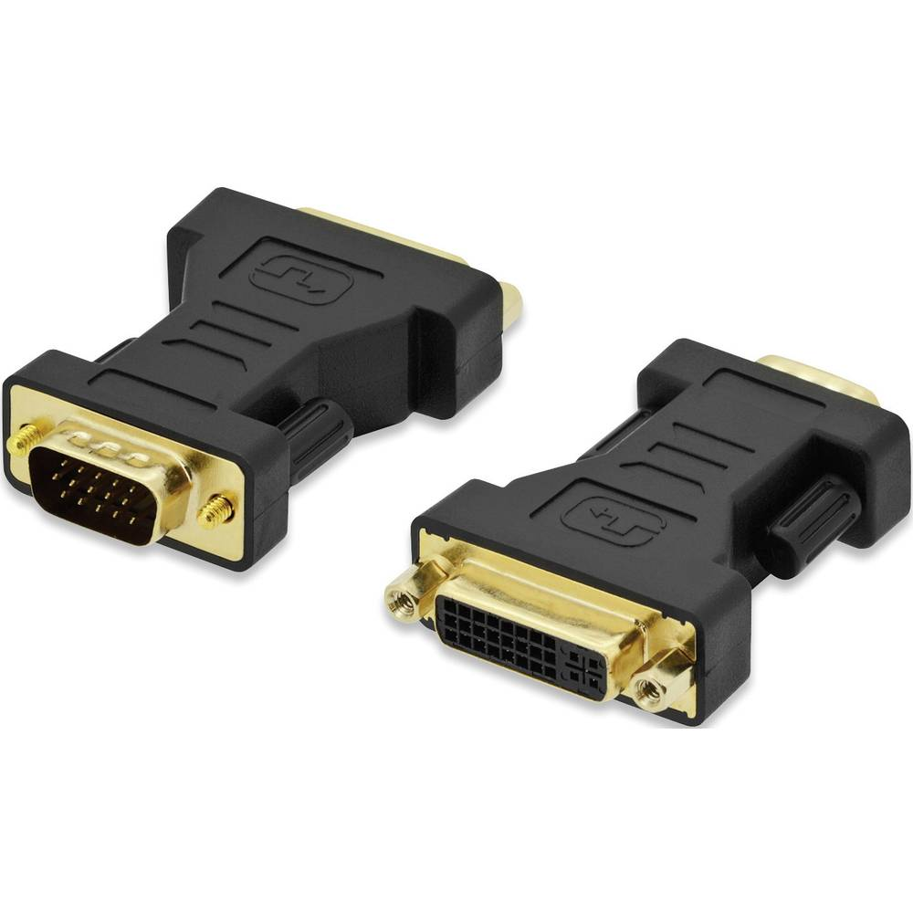 VGA / DVI adapter ednet [1x VGA utikač <=> 1x DVI ženski konektor 24+5pol.] crna, s vijcima, pozlaćeni utični kontakti