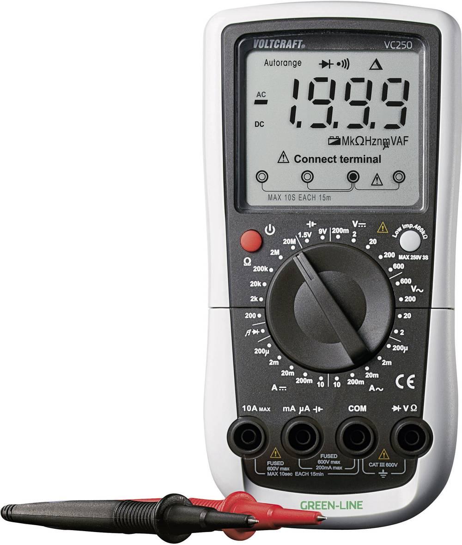 Ročni multimeter, digitalni VOLTCRAFT VC250 kalibracija narejena po: ISO CAT III 600 V število znakov na zaslonu: 2000