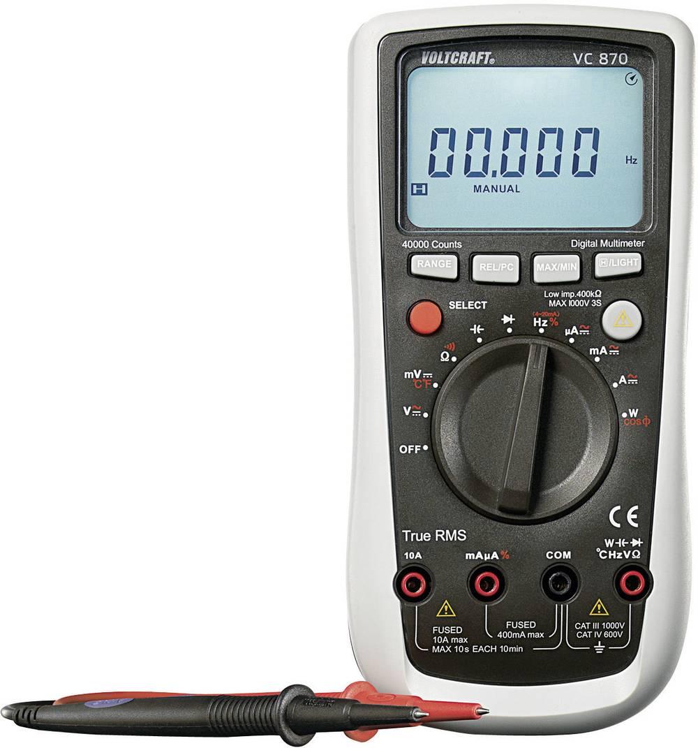 Ročni multimeter, digitalni VOLTCRAFT VC870 kalibracija narejena po: delovnih standardih, CAT III 1000 V, CAT IV 600 V število z