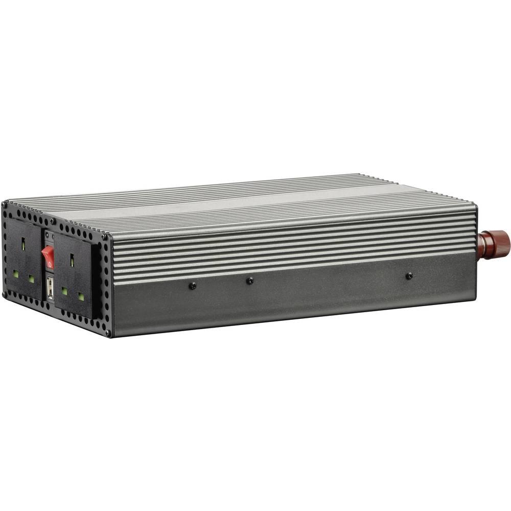 Inverter VOLTCRAFT MSW 1200-24-UK 1200 W 24 V/DC 21 - 30 V/DC Skrueklemmer Beskyttelseskontakt-stikdåse UK