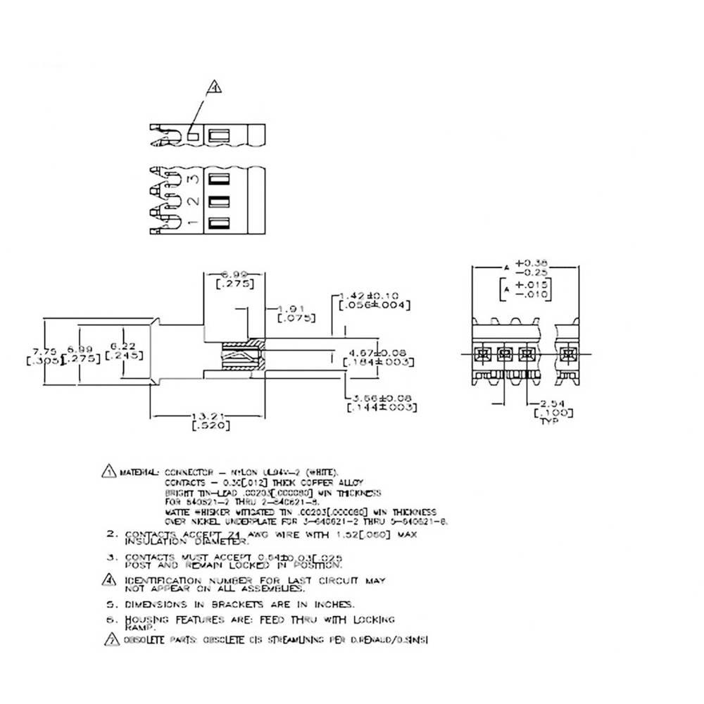 Bøsningsliste (standard) MTA-100 Samlet antal poler 4 TE Connectivity 3-640621-4 1 stk