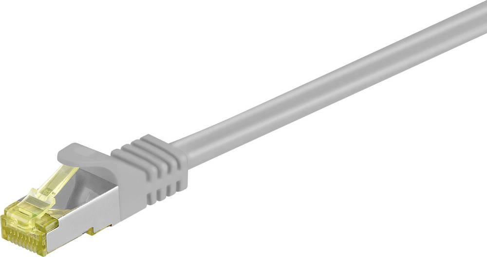 Omrežni priključni kabel Goobay RJ45CAT 7 S/FTP [1x RJ45-vtič - 1x RJ45-vtič] 0.25 m siv z zapahom, pozlačen