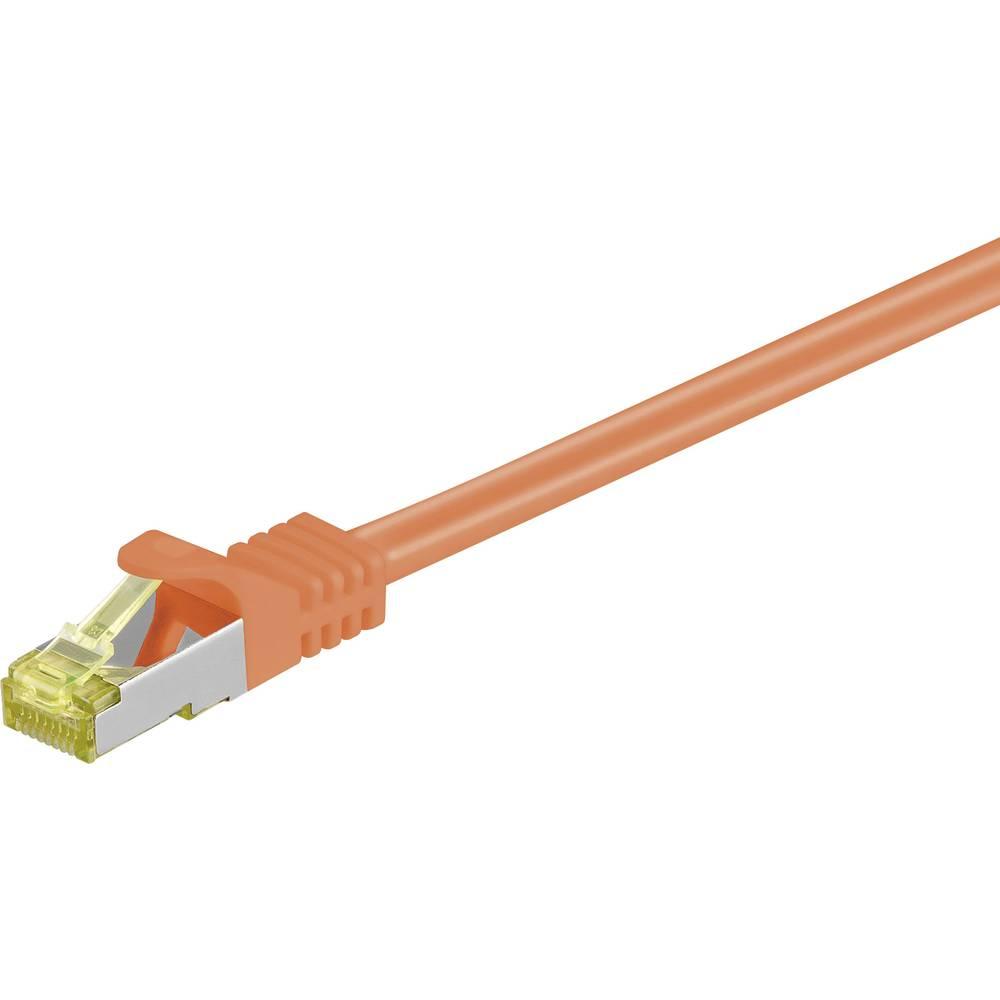 Omrežni priključni kabel Goobay RJ45CAT 7 S/FTP [1x RJ45-vtič - 1x RJ45-vtič] 7.50 m oranžen z zapahom, pozlačen