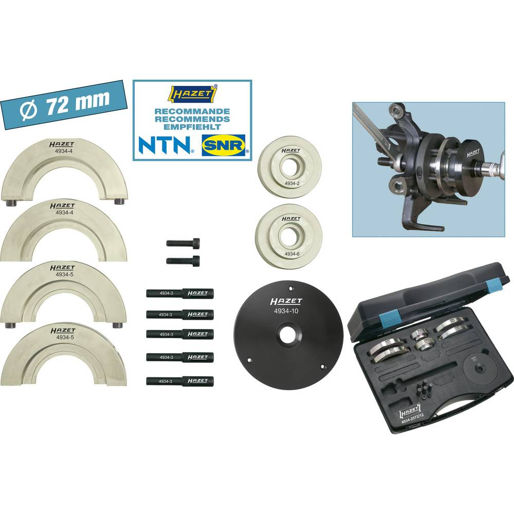HAZET Compact wheel hub bearing unit tool set 4934-2572/12 Hazet 4934-2572 /12