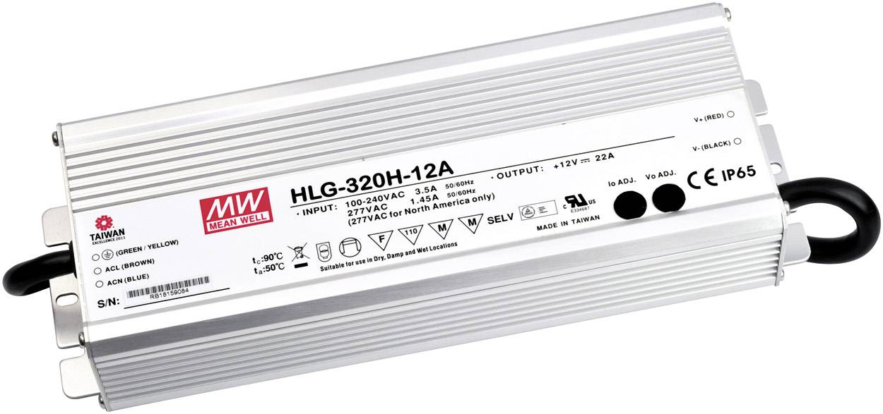 MW Mean Well HLG-320H-54 54V 5.95A 321.3W Single Output Switching LED Driver with PFC