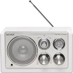 FM Bordradio Denver TR-61 AUX, MW, FM Hvid