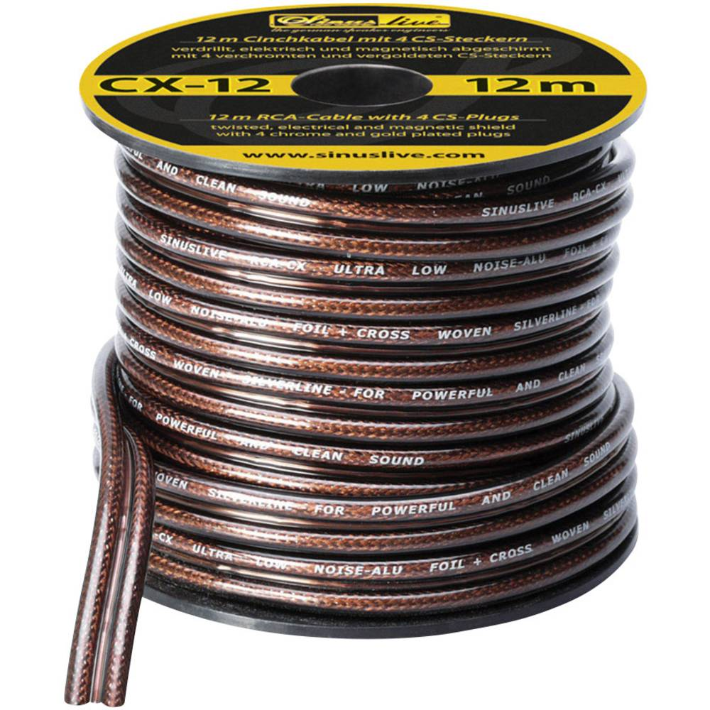 Phono-kabel Sinuslive CX-12 Sort, Halvtransparent 12 m