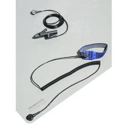 ESD namizna podloga v setu, platinasto sive barve (D x Š) 800 mm x 600 mm Bernstein 9-361 vklj. ozemljitveni kabel, vklj. zapest