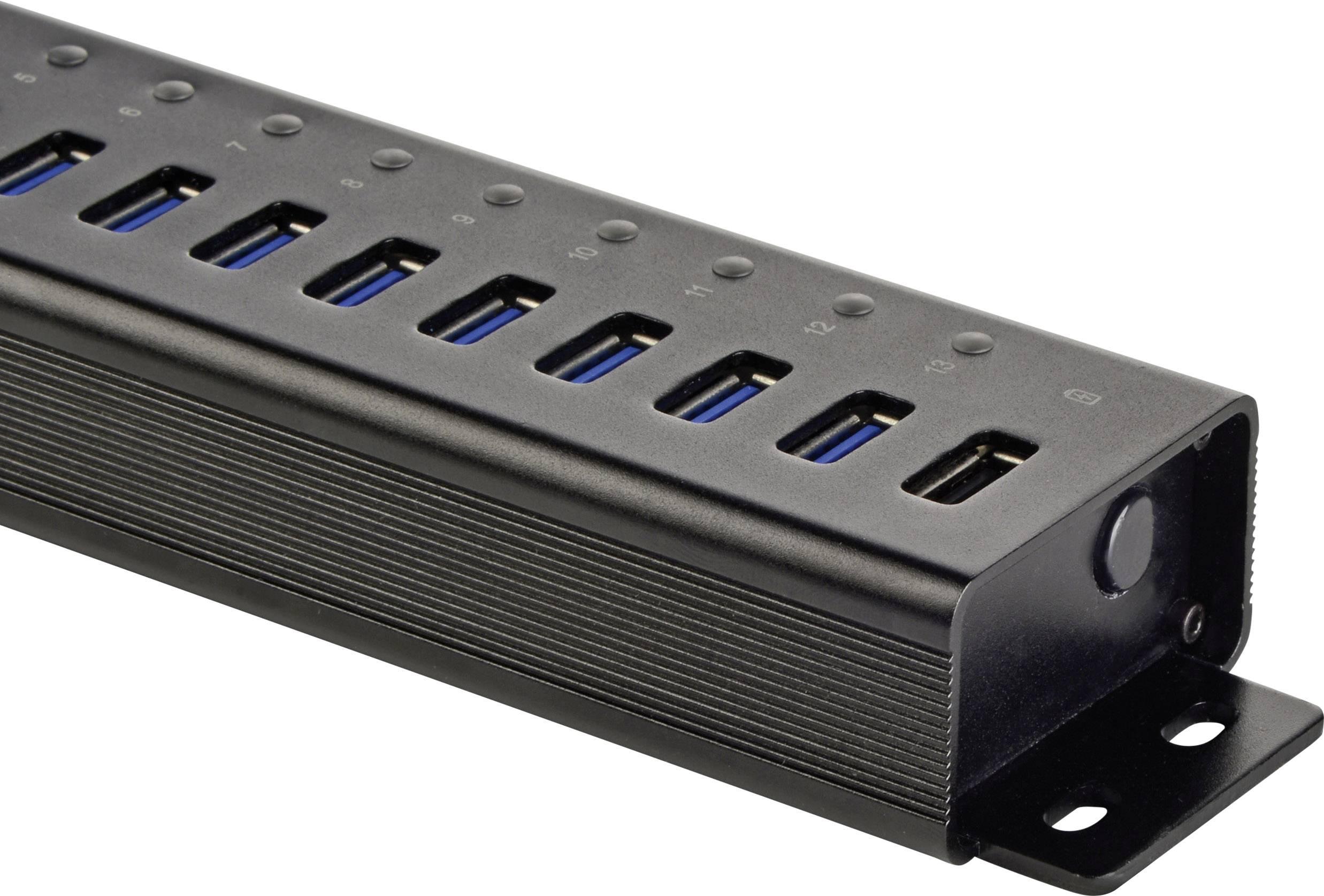 13 1 ports usb 3 0 hubaluminium casing wall mount option quick charge portrenkforce. Black Bedroom Furniture Sets. Home Design Ideas