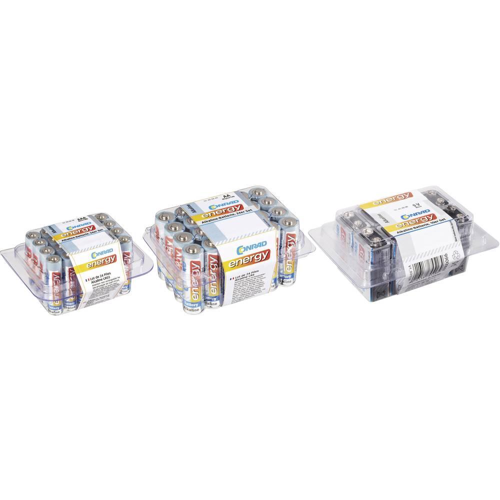 Conrad energy povoljan set alkalnih baterija: 24x Micro, 24x Mignon, 10x 9 V-Block baterija