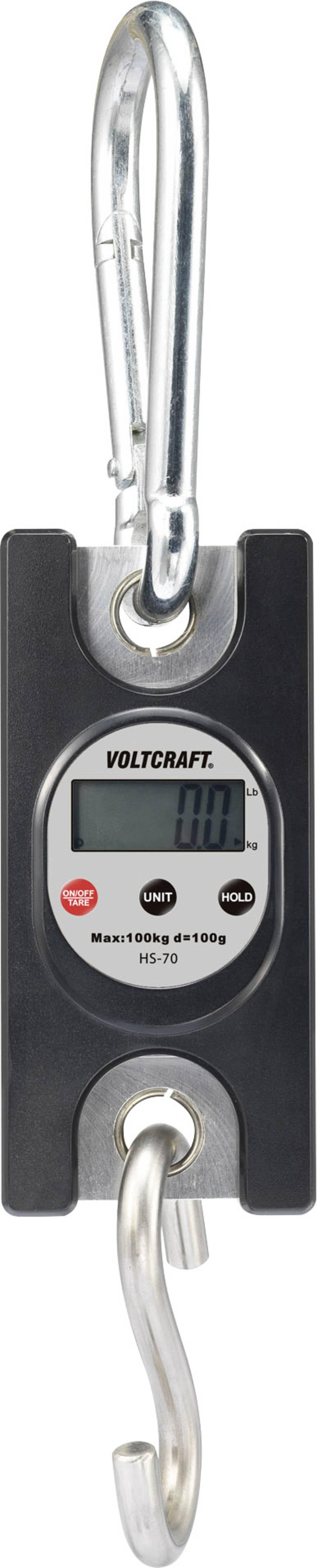 Viseča tehtnica VOLTCRAFT HS-70 območje tehtanja (maks.) 100 kg natančnost 100 g črne barve