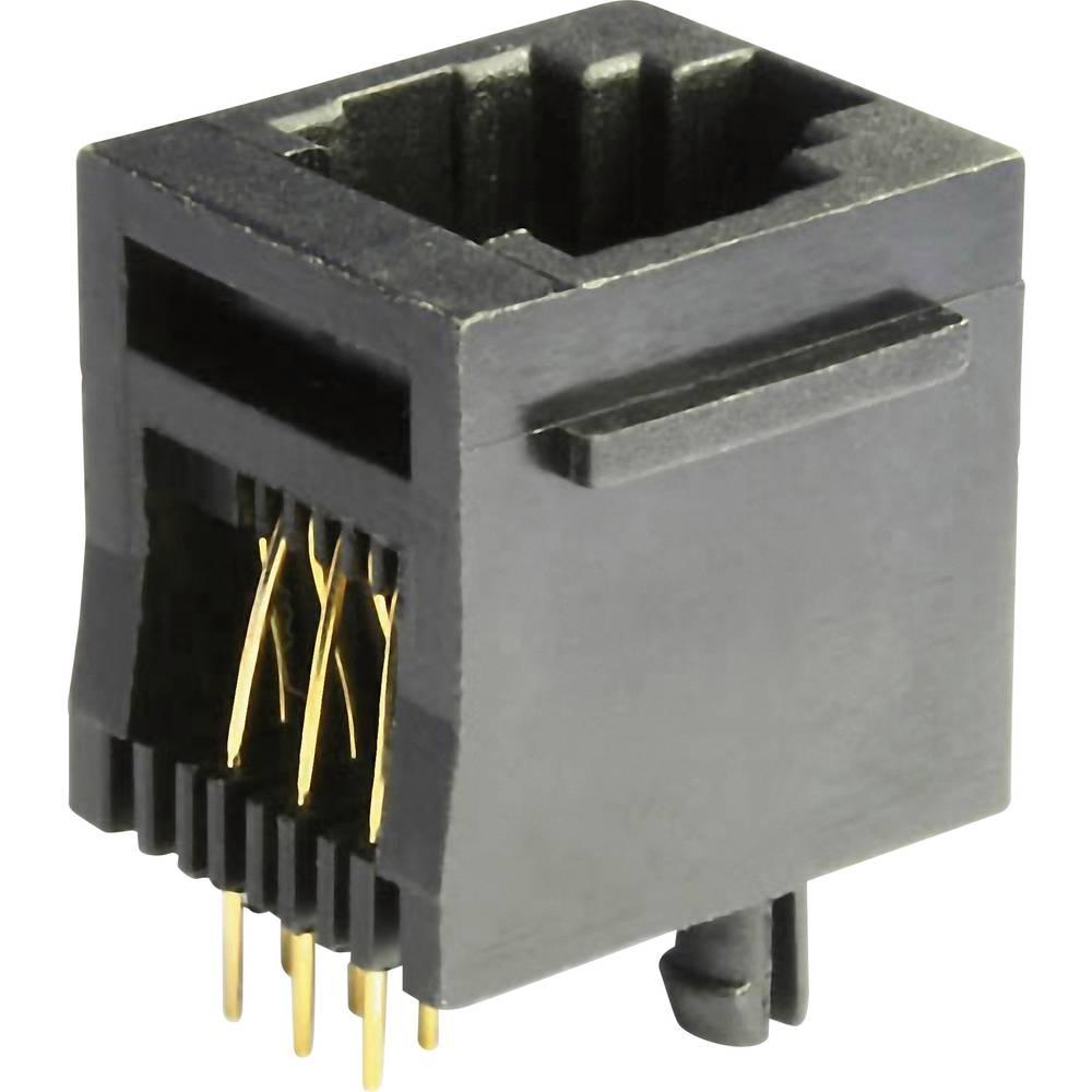 RJ12 Tilslutning, indbygning lodret econ connect MEB6/6PST CAT 3 Sort 1 stk