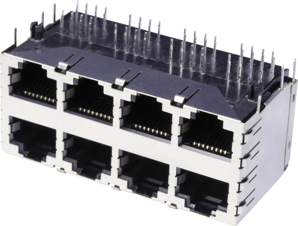 Dvojna, več-vhodna 8 x RJ45 vtičnica, vgradna, horizontalna, polov: 8 3022S4 kovinska econ connect 3022S4 1 kos