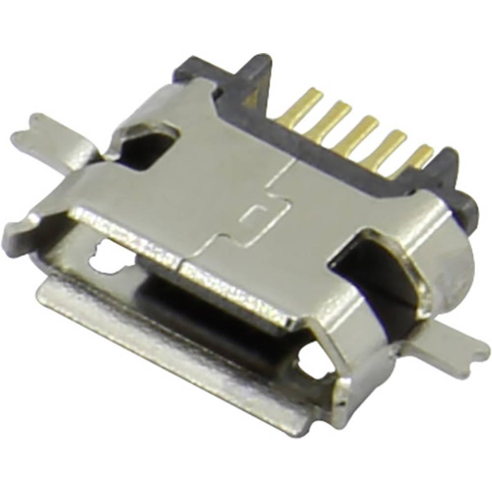 Micro USB vtičnica, vgradna, horizontalna 207E-BG00-R Micro USB vgradna vtičnica , tipa B SMD Attend vsebuje: 1 kos