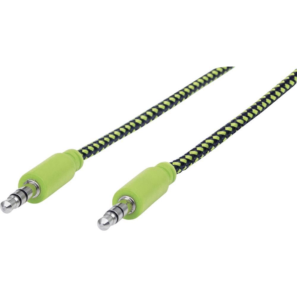Klinken avdio priključni kabel [1x klinken vtičnica 3.5 mm - 1x klinken vtičnica 3.5 mm] 1.80 m črne, zelene barve