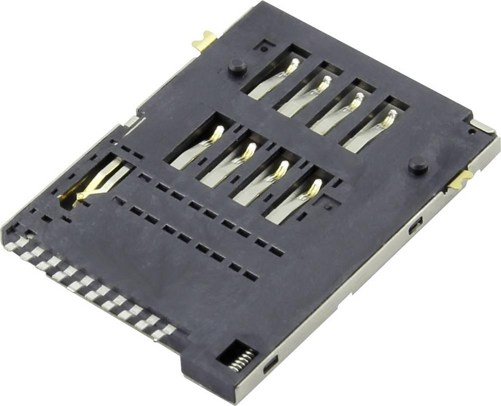 Podnožje za SIM kartico, št. kontaktov: 8 + 2 potisno, potisno Attend 115A-BDA0-R01 1 kos