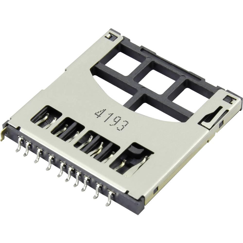 Podnožje za SD kartico, potisno, potisno Attend 104D-RAA0-R01 1 kos
