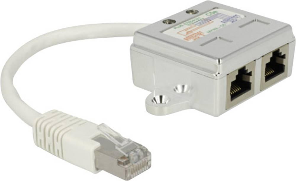 RJ45 omrežni adapter CAT 5 [1x RJ45-vtič - 2x RJ45-vtičnica] 0.15 m bele barve Delock