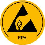 Warning sign for ESD areas