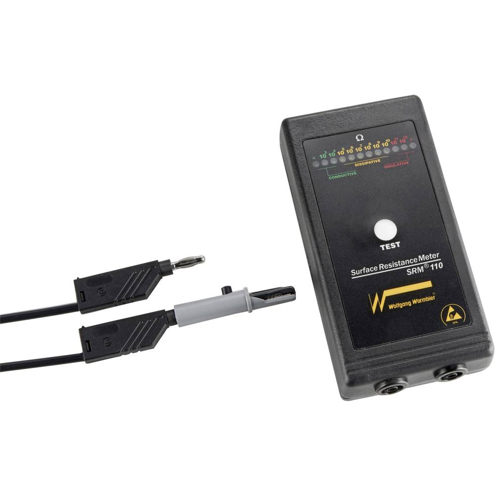 ESD testna naprava v setu Wolfgang Warmbier SRM®110 za površinsko in odvodno upornost, torba, vklj. ozemljitveni kabel