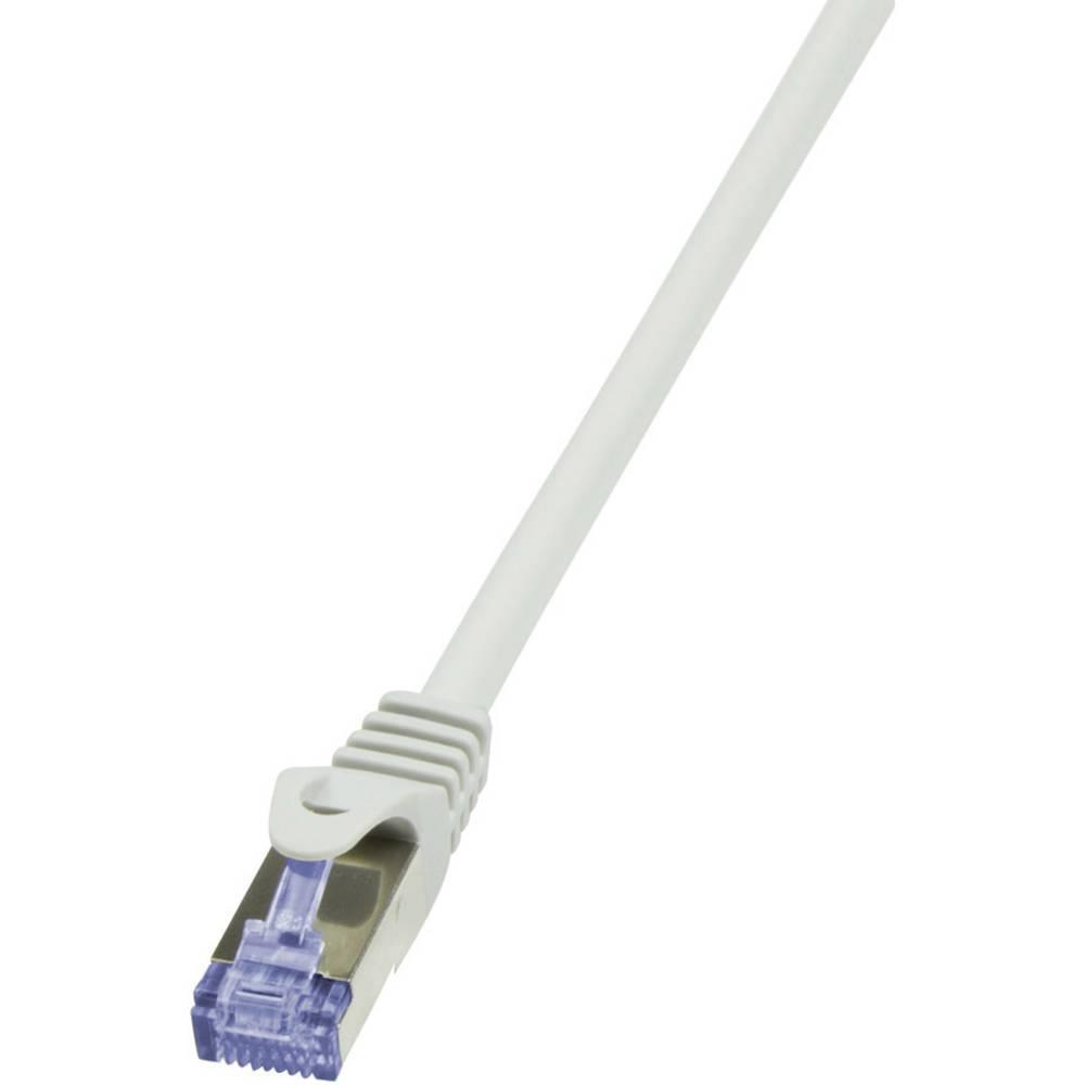 RJ45 omrežni priključni kabel CAT 7 S/FTP [1x RJ45-vtič - 1x RJ45-vtič] 1.50 m siv pozlačeni zatiči, negorljiv