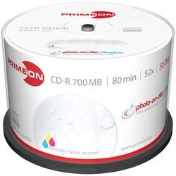 CD-R 80 disc Primeon Kan forsynes med print, Højglanspoleret overflade, Vandfast, Ikke udtværende 700 MB Spindel 50 stk