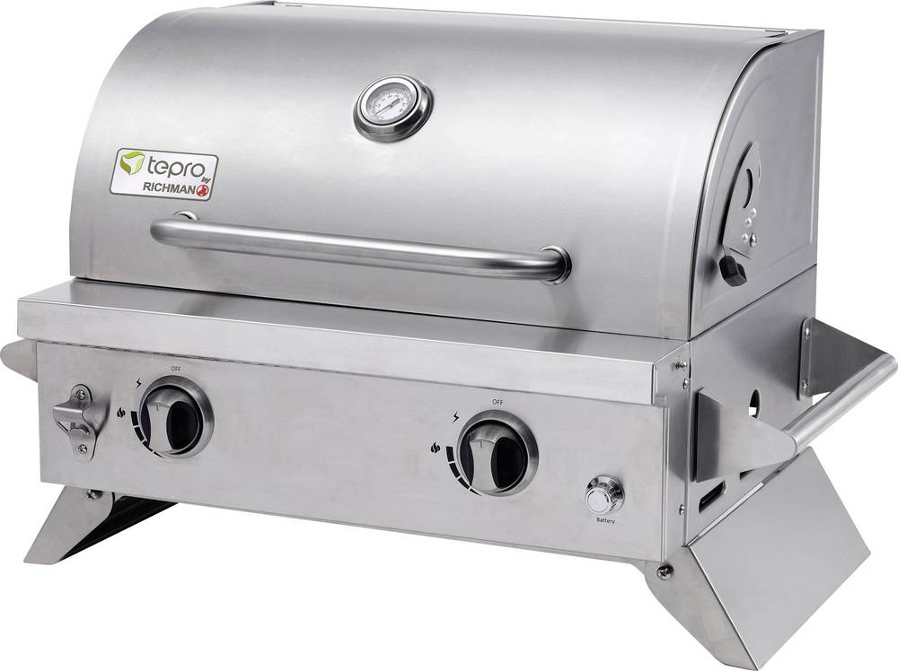 tepro garten cleveland table gas grill 2 burners, thermometer in lid