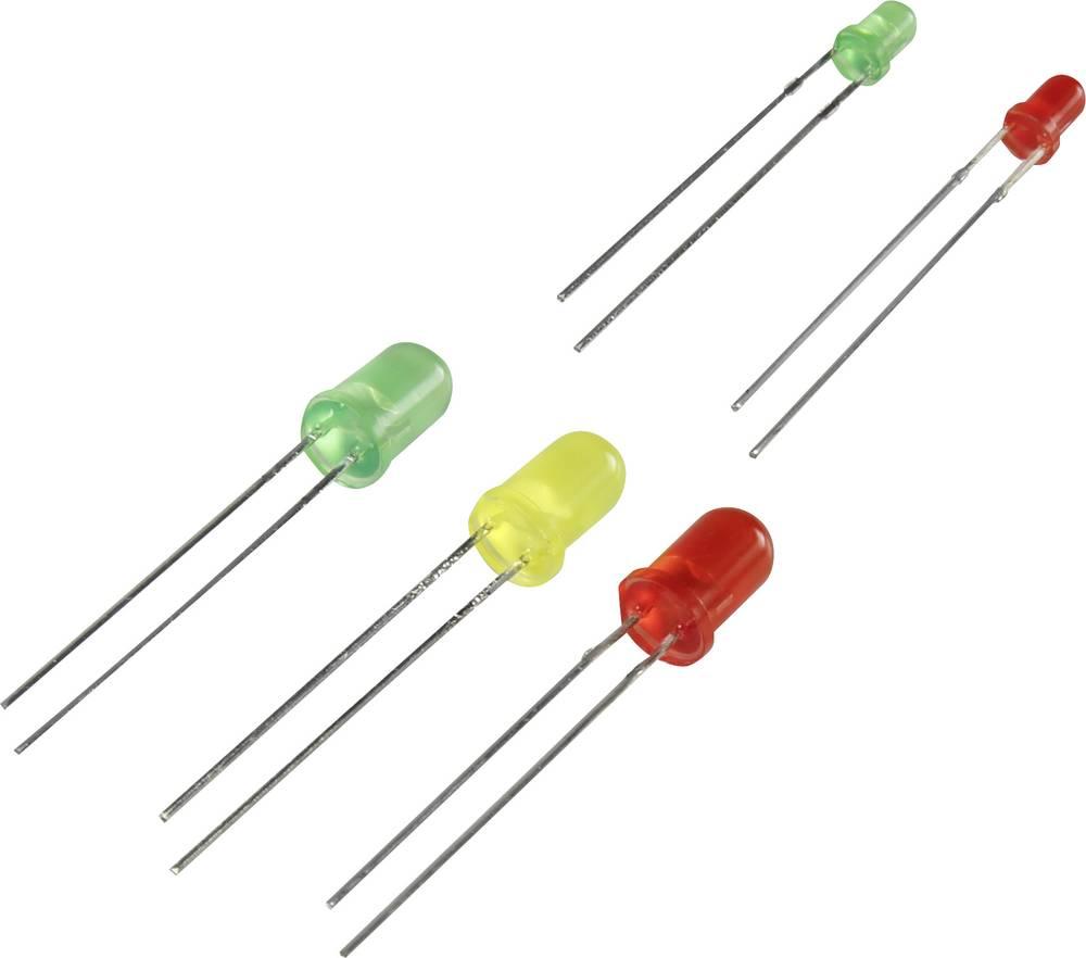 LED-sortiment 3 mm, 5 mm Grøn, Rød, Gul