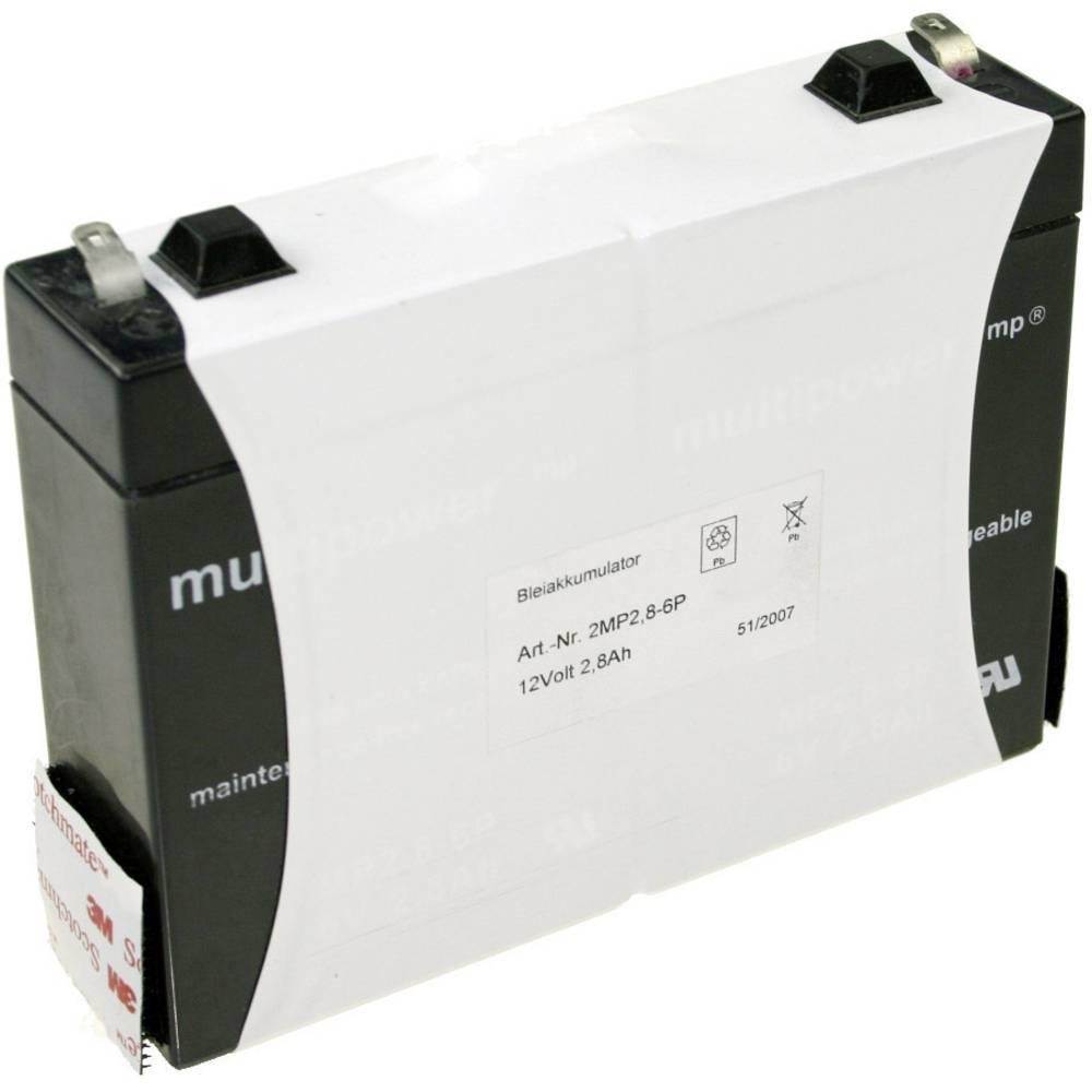 Olovni akumulator 12 V 2.8 Ah multipower MP2,8-12 MP2,8-12 olovo (AGM) (Š x V x DB) 132 x 104 x 33 mm plosnati utikač 4.8 mm bez