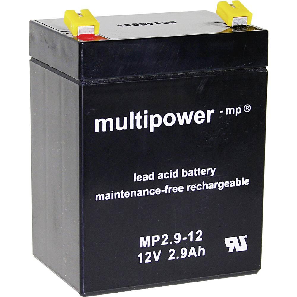 Olovni akumulator 12 V 2.9 Ah multipower MP2,9-12 A97275 olovo (AGM) (Š x V x DB) 79 x 107 x 56 mm plosnati utikač 4.8 mm bez od