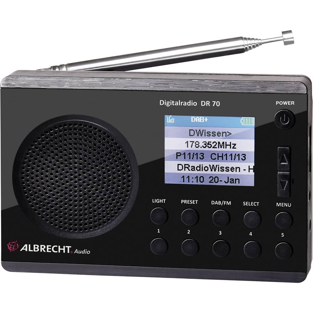 DAB+ radio Albrecht DR 70 Radio za vanjski prostor Džepna svjetiljka crna