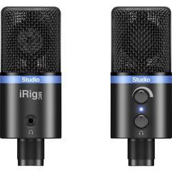 USB-studiemikrofon IK Multimedia IRIG MIC STUDIO BLACK Bredbånd Inkl. klemme, Fod , Metalkabinet