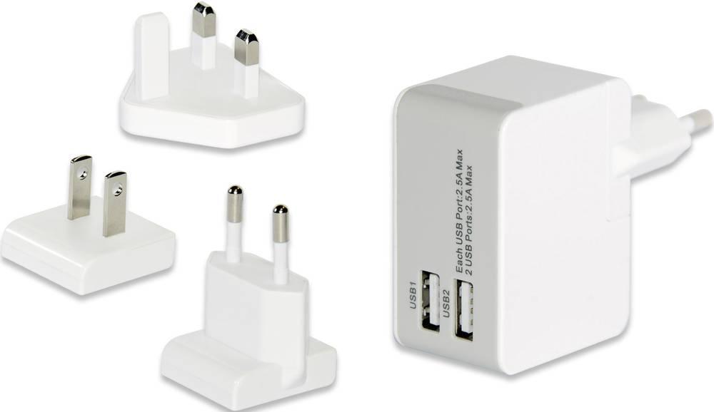 USB-oplader ednet 31808 31808 Stikdåse Udgangsstrøm max. 2500 mA 2 x USB med USA-adapter, med UK-adapter