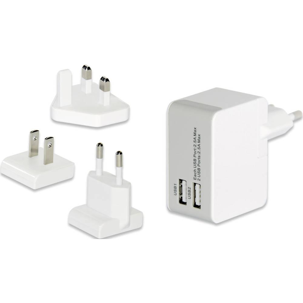 USB-vtični polnilnik ednet 31808 izhodna napetost (max.) 2500 mA 2 x USB z ZDA-Adapterjem, z VB-Adapterjem