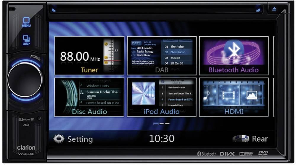 Dobbelt-DIN Moniceiver Clarion VX404E Håndfrit Bluetooth®-system