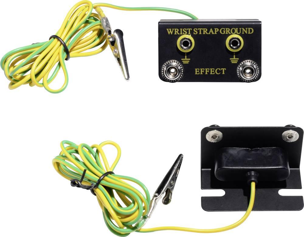 ESD ozemljitvena škatla, kotna oblika, vklj. ozemljitveni kabel 1.83 m Conrad Components EBO-SETW-4-183-S/K pritisni gumb 4 mm,