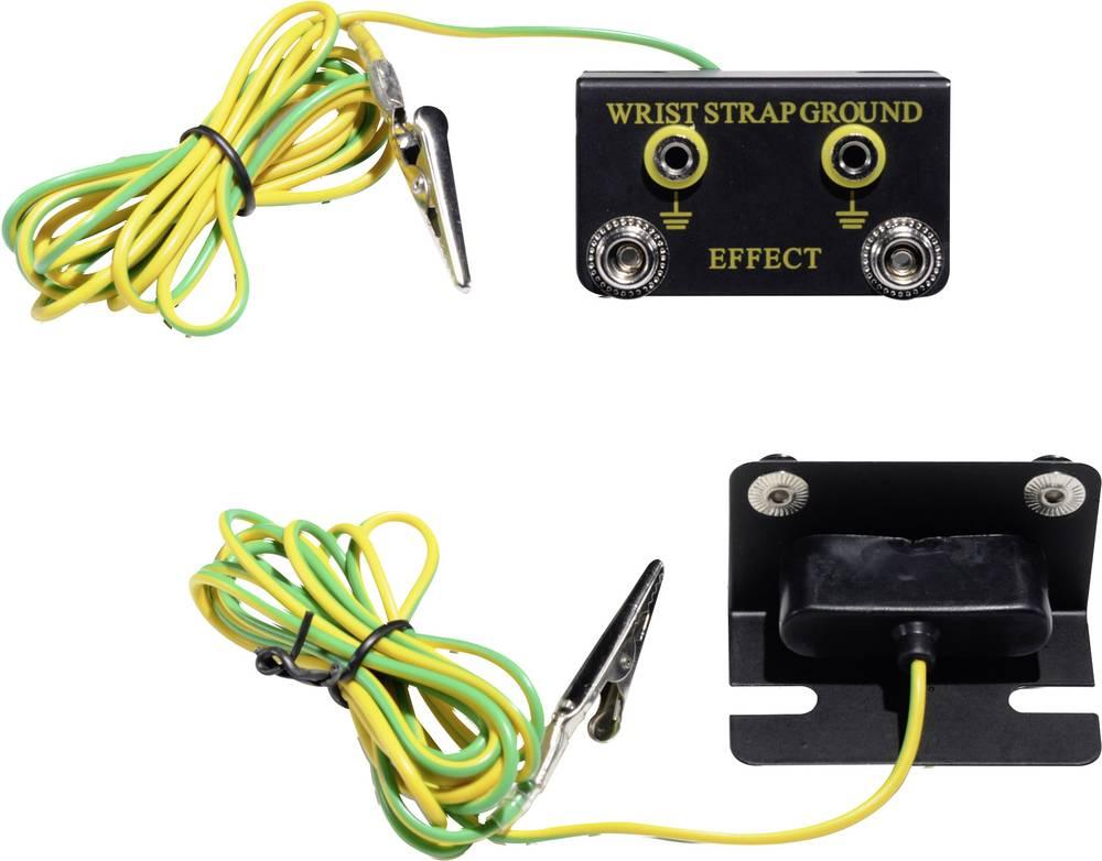 ESD ozemljitvena škatla, kotna oblika, vklj. ozemljitveni kabel 1.83 m Conrad Components EBO-SETW-10-183-S/K pritisni gumb 10 mm