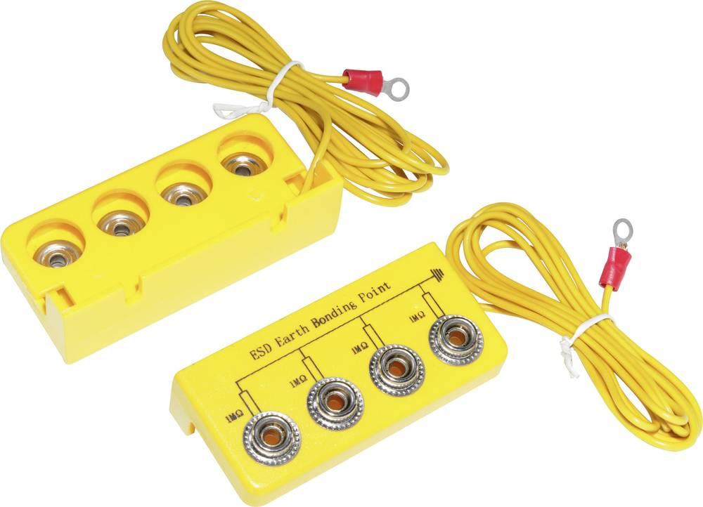 ESD ozemljitvena škatla L-oblika, vklj. ozemljitveni kabel 3.05 m Conrad Components EBO-SETL-10-305-R pritisni gumb 10 mm, ušesc