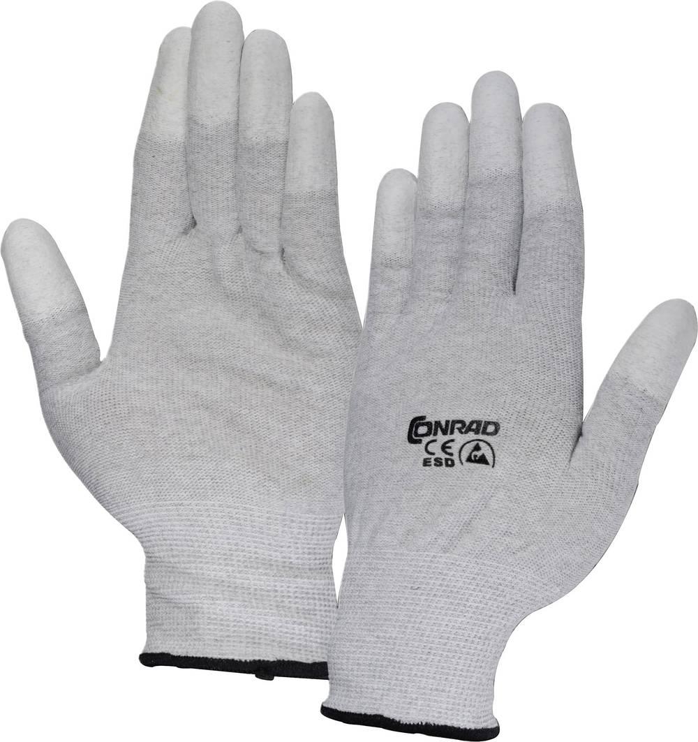 ESD-handske Conrad Components EPAHA-RL-L EPAHA-RL-L Størrelse L med belægning på fingerspidserne Polyamid Grå