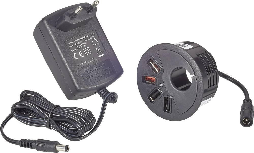 USB-oplader VOLTCRAFT DAPS-4000/4 DAPS-4000/4 Stikdåse Udgangsstrøm max. 4000 mA 4 x USB Møbelindbygning