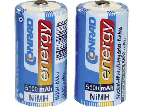 Oplaadbare C batterij (baby) Conrad energy HR14 NiMH 1.2 V 5500 mAh 2 stuks