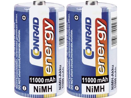Oplaadbare D batterij (mono) Conrad energy HR20 NiMH 1.2 V 11000 mAh 2 stuks