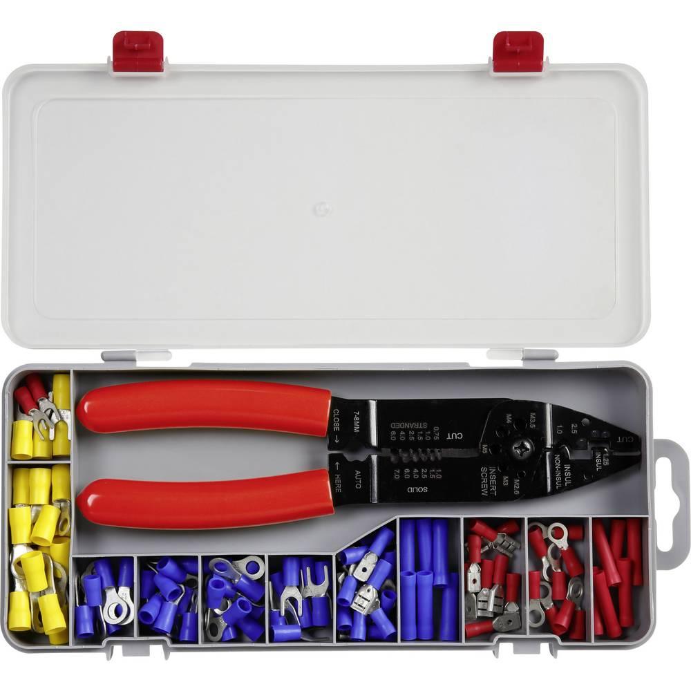 Klemmeforbindelsesstykker-sortiment TE5-0516 0.5 mm² 6 mm² Blå , Rød, Gul 101 Parts