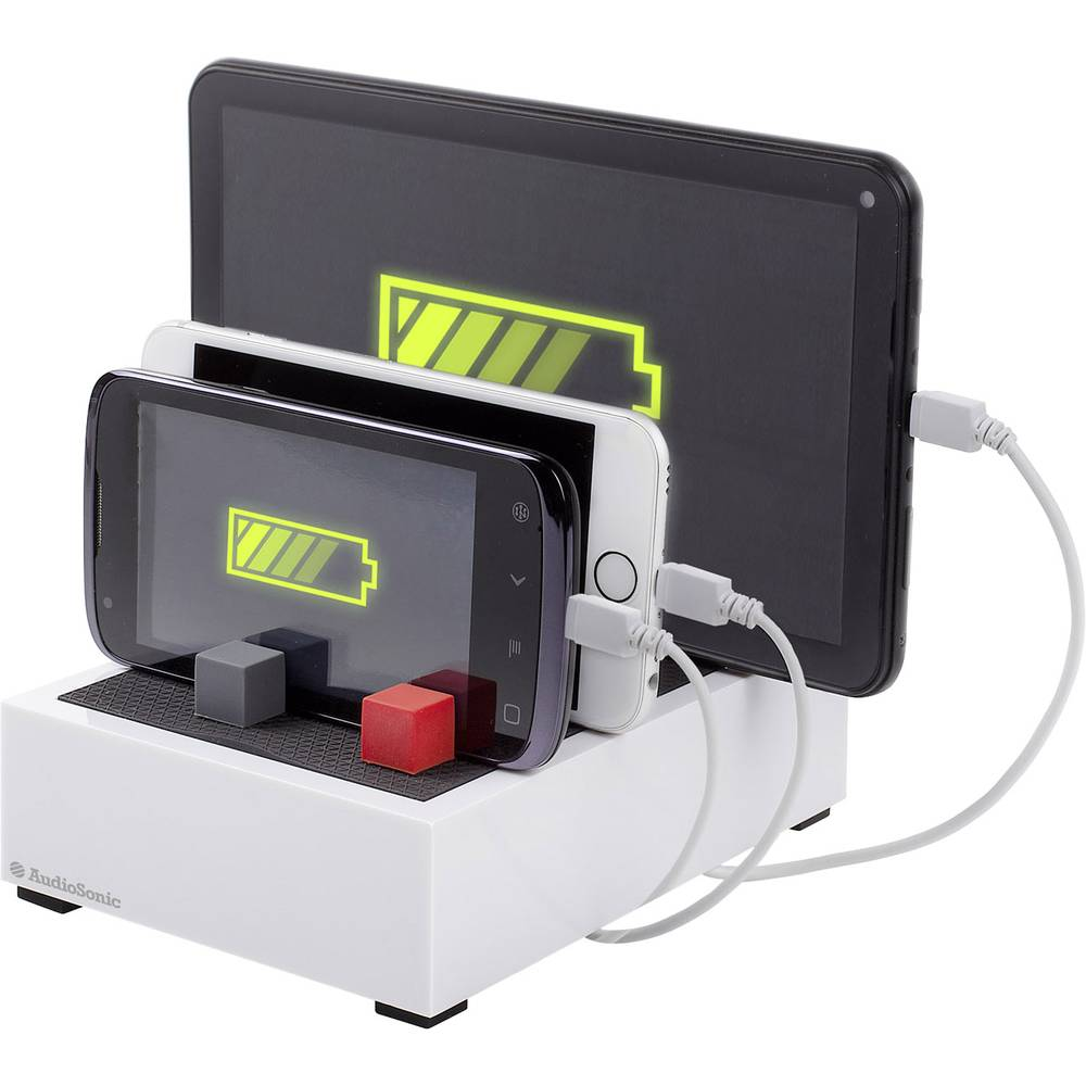 USB-opladerstation Audiosonic PB-1726 PB-1726 Stikdåse Udgangsstrøm max. 4500 mA 4 x USB