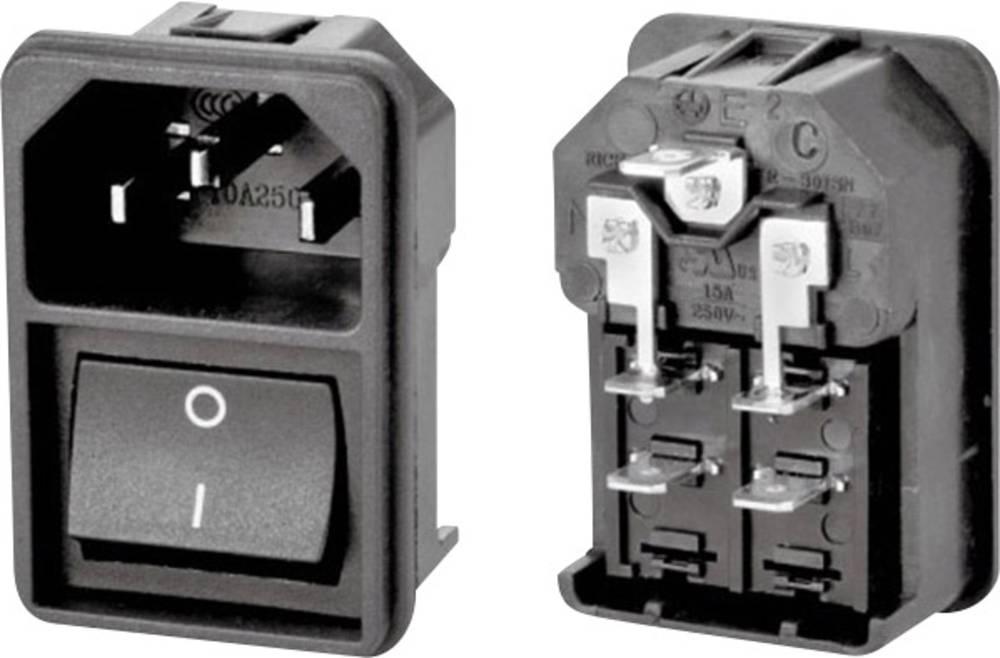 IEC-stik C14 Stik, indbygning lodret Samlet poltal: 2 + PE 10 A Sort 1 stk