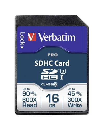 Image of Verbatim PRO SDHC card 16 GB Class 10, UHS-I, UHS-Class 3